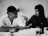 Actress Sophia Loren Humorously Berating Husband  Carlo Ponti  While Dining in Restaurant