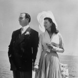 Prince Aly Khan with 2nd Wife  Rita Hayworth at Seaside after Wedding Ceremony in France