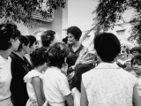 "Actress Sophia Loren Speaking with Fans During Location Filming of ""Madame Sans Gene"""