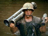 American Marine Pfc Phillip Wilson Carrying Bazooka Across Stream Near DMZ During Vietnam War