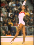 US Gymnast Ludmila Turishcheva Performing a Floor Exercise at the Summer Olympics
