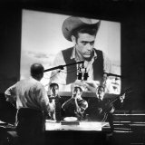 Composer Dimitri Tiomkin Directing the Musical Score for the Last James Dean Movie Produced 'Giant'