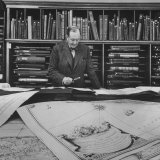 Harvard University Professor Sammuel Eliot Morison Studying a Map in One of Harvard&#39;s Libraries
