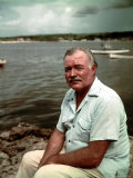"""Author Ernest Hemingway at Cuban Fishing Village Like the One in Book """"The Old Man and the Sea"""""""