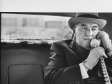 Realtor William J Zeckendorf  Sitting in the Back Seat of His Limousine Talking on the Telephone
