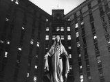 Statue of Mary in front of Catholic Hospital in Chicago  Symbolizing Mother of Mercy