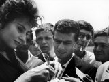 """Actress Sophia Loren Signing Autographs for Fans During Location Filming of """"Madame Sans Gene"""""""