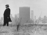 Realtor William J Zeckendorf  Standing in the Wind Fields Located on the Outskirts of the City