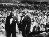 """Musician Louis Armstrong and Tyree Glenn Performing """"Hello Dolly"""" at the Steel Pier"""