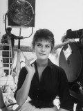 Actress Sophia Loren Crossing Fingers for Good Luck Between Takes on Movie Set