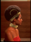 Roanne Nesbitt Modeling Afro Wig and African Inspired Necklace and Headdress
