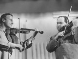 Violinists David Oistrakh and Yehudi Menuhin Rehearsing for United Nations Concert