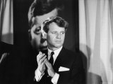 Robert F Kennedy Campaigning in Front of Poster Portrait of His Brother President John F Kennedy