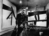 Abstract Expressionist Painter  Franz Kline  in Studio with His Black and White Paintings