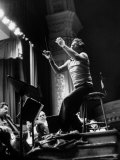 Maestro Leonard Bernstein Conducting NY Philharmonic During Rehearsal for Concert in Carnegie Hall