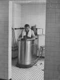 NY Yankee Baseball Player Mickey Mantle Soaking in Whirlpool Bathtub after game in clubhouse
