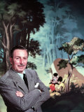 Walt Disney Posing Against Landscape Backdrop Containing Mickey Mouse