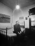 "Author William Burroughs  an Ex Dope Addict  Relaxing on a Shabby Bed in a ""Beat Hotel"""