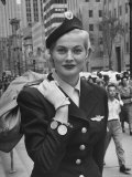 Miss Sweden Anita Ekberg Wearing Hostess Hat for Scandinavian Airlines Designed by Mr John