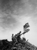 American Marines Replacing Small American Flag with Larger One Atop Mt Suribachi