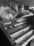 Organ Maker Students Michael Onuschko and Robert Morrow Working on Keyboard at Allen Organ Company