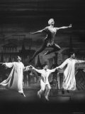 "Actress Mary Martin Gives kids a Flying Lesson in the Broadway Production of Musical ""Peter Pan"""