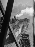 Tug Boats Muscling Barges Loaded with Lehigh Valley Railroad Freight Cars from New York City