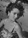 Actress Elizabeth Taylor on the Beach