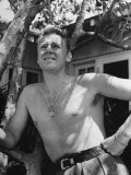Bare Chested  Freckled Actor Van Johnson  Wearing a St Christopher Medal Around His Neck