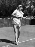 Actress Carol Lombard Stunningly Gorgeous in Tennis Togs on Court During Game