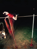 Time Exposure of Pole Vaulter Robert Richards in Action