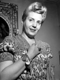 Eva Peron  Wife of Argentinean Pres Candidate Posing in Her Apartment