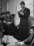 Sen Election Night  John F Kennedy Listens to Brother Robert Read Returns as Ethel Listens  Boston