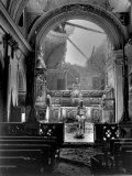 Pvt Paul Oglesby  30th Infantry  Standing in Reverence Before Altar in Damaged Catholic Church