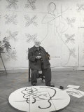 French Painter Henri Matisse Working on Medallion of Virgin and Child for Chapel at Vence in Studio