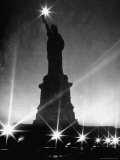 Crystalline Lights Surrounding Statue of Liberty during WWII Blackout