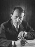 French Author Andre Malraux Working in His Office at RPF Headquarters