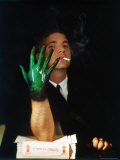 Man Displaying His Hand showing a Direct Result of Nicotine in Cigarette Smoke