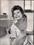 Actress Sophia Loren Laughing While Exchanging Jokes During Lunch Break on Madame Movie Set