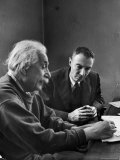 Physicist J Robert Oppenheimer Discusses Theory of Matter with Famed Physicist Dr Albert Einstein