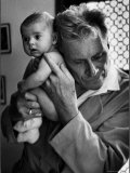 Blind Doctor Albert A Nast Holding Ear to Back of 3 Month Old Instead of Using a Stethoscope