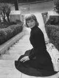 Actress Dorothy McGuire Sitting on Steps