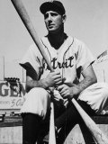 Detroit Baseball Player Hank Greenberg Seated  Holding Bats