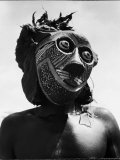 Bopende Tribesman of Western Congo Wearing Mask During Initiation of Boys Into Tribal Society