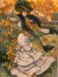 Autumn Cover of French Periodical Les Modes Showing Fashionable Woman Alone in Park