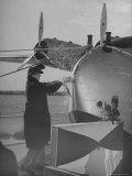 "First Lady Eleanor Roosevelt on the Hull of Pan American's New Flying Boat the ""Yankee Clipper"""