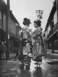 Geisha Girl Chats with Young Novice  Yoko Minami  Who is Studying to Become a Geisha