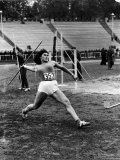 Soviet Athlete Virva Rolleid Practicing for the Russian Olympics