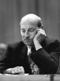 British Pm Clement Attlee Dozing During Campaign Rally
