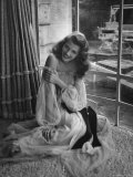 Actress Rita Hayworth Wearing Nude Souffle Negligee in movie &quot;Gilda&quot;